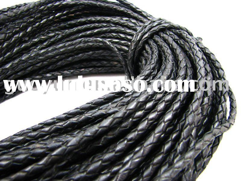 Genuine braided leather cord 4.0mm L1037