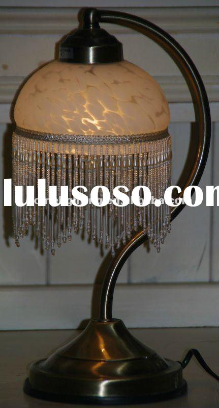 Victorian Style Etched Glass Beaded Table Lamp with Brass Metal Base