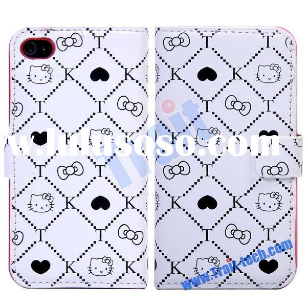 White Cute Rabbit Luxury Wallet Leather Case for iPhone 4S/4