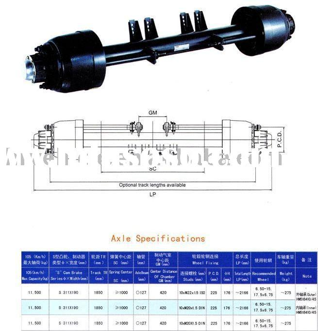 trailer axle for lowbed semi-trailer