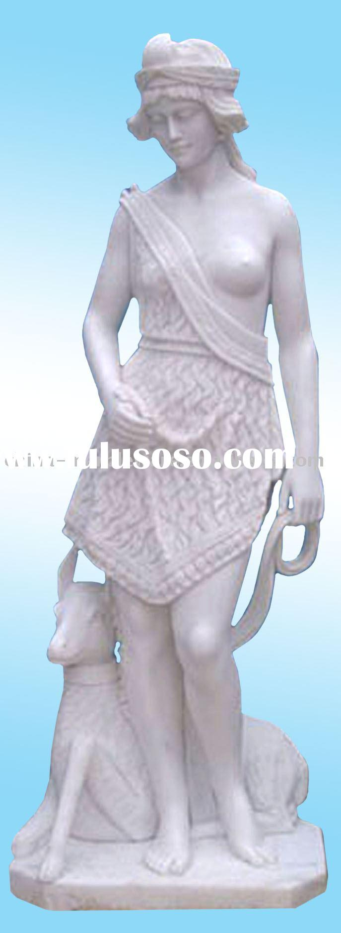 white marble statue of a girl guiding a sheep(H 160cm)