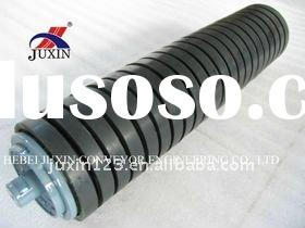 DIN standard impact idlers rollers for belt covneyor, rubber ring rollers, shock absorb rollers