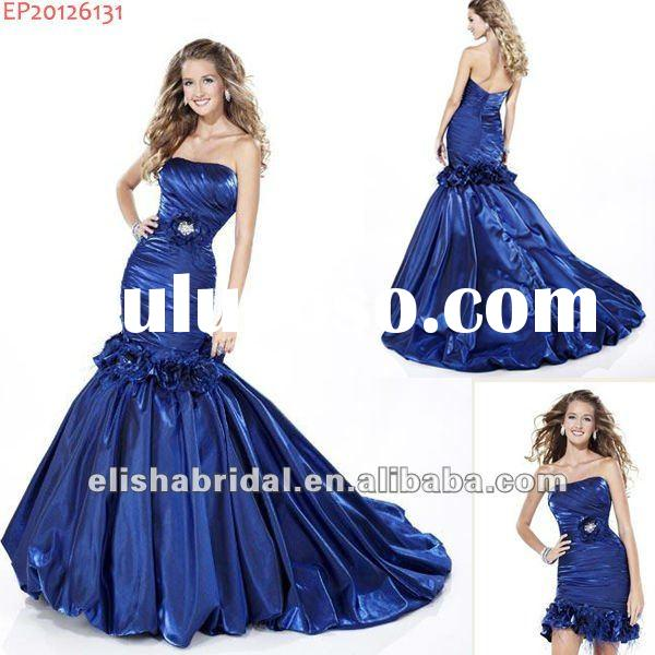 Designer Midnight Blue Strapless Shirred Bodice Detachable Skirt Mermaid Prom Dresses 2012