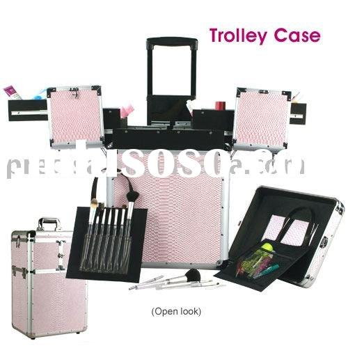 Pink Aluminum cosmetic train case TC001