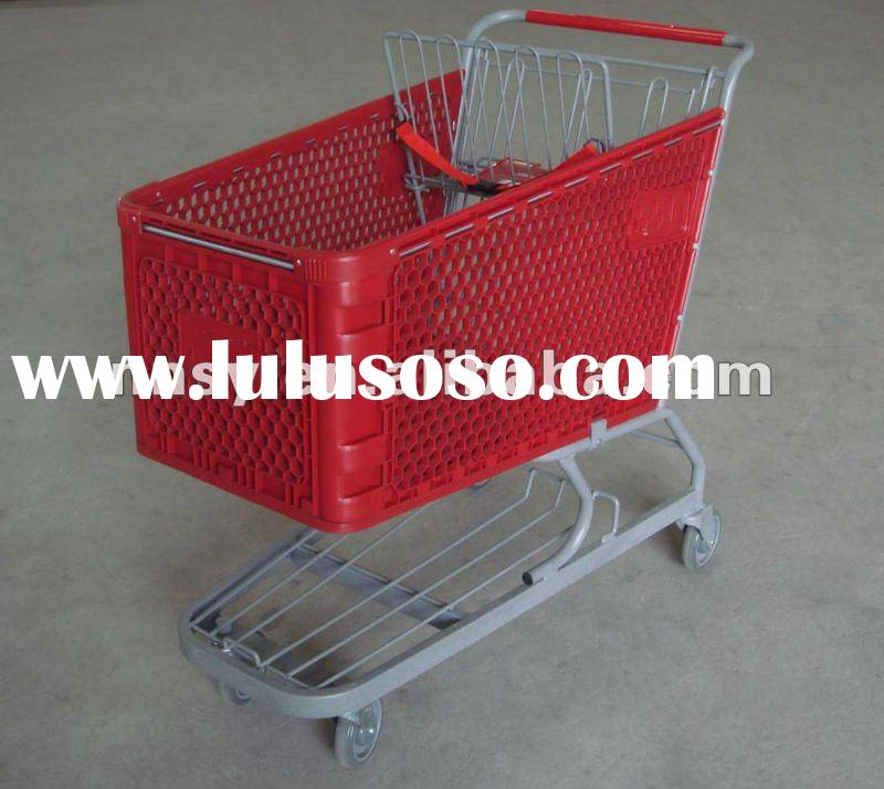 plastic shopping cart/shopping trolley with plastic basket