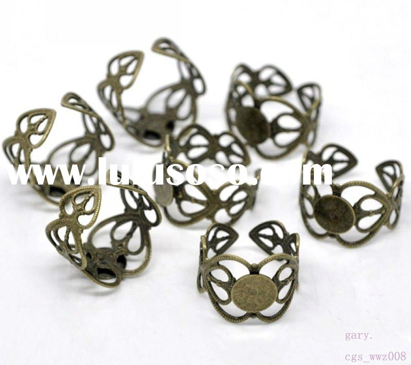 18mm Adjustable Retro Setting Ring Blank with 8mm tray Finding flower ring base ring set