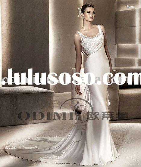 2011 Good Satin Fabric And Lace Back Wedding Gown