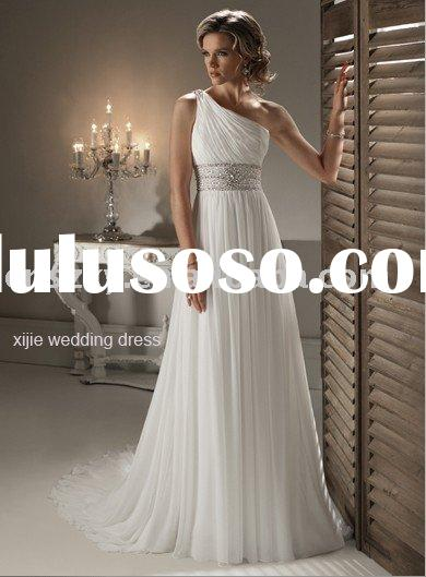 2011 New design chiffon material beaded A-line Wedding dress ---- maggie002