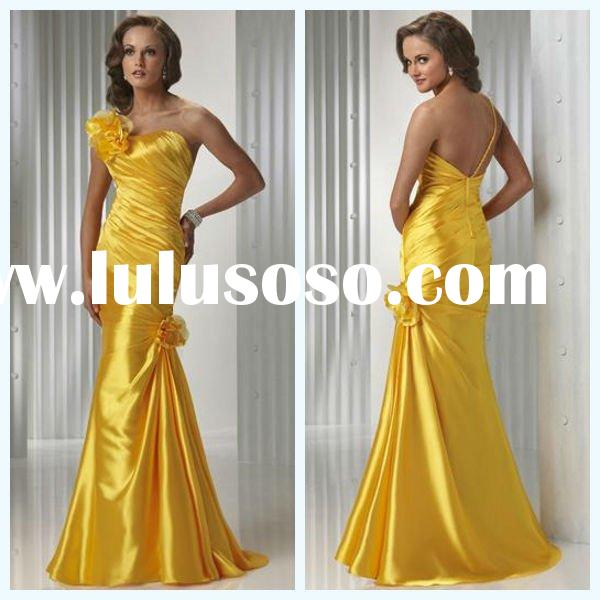 2011 Top Sale Mermaid Sleeveless Handmade Flower Pleated Taffta One-shoulder Dress Prom