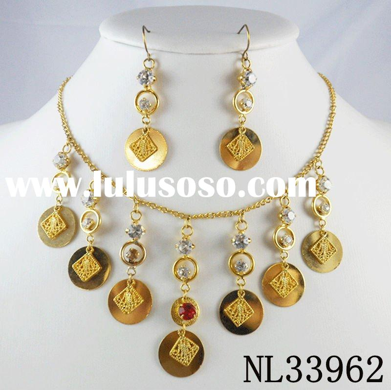 2011 new arrival gold plating charm design many crystal rhinestone handmade necklace set