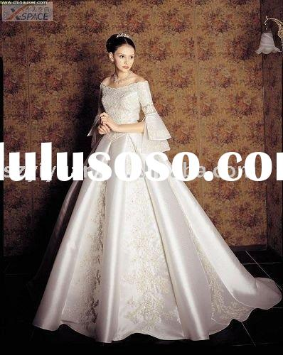 2011 new style long sleeve off shoulder embroider bridal wedding dress