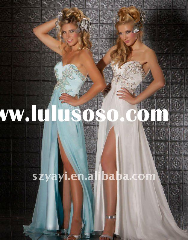 2012 Custom-made Flowing Sweetheart Light Sky Blue White Beaded Chiffon Prom Dresses Party Dresses 7