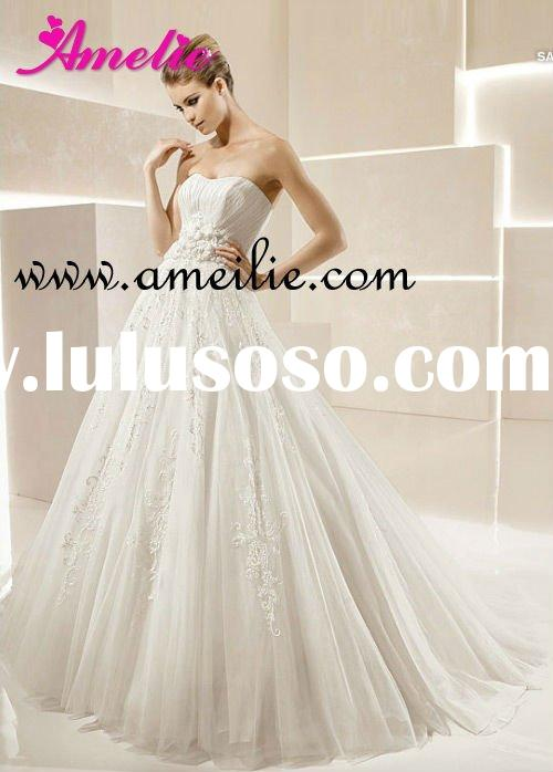 2012 Gorgeous Ruffled Ball Gown Lace Alibaba Wedding Dress