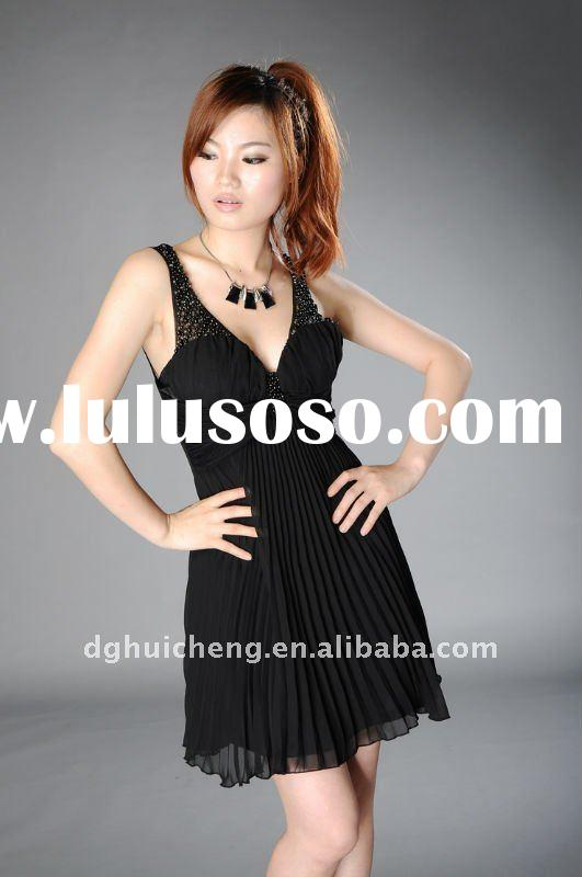 2012 fashion dress new design pleats girls party dresses