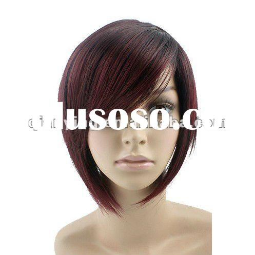 2012 fashion synthetic human hair lace front wigs with bangs