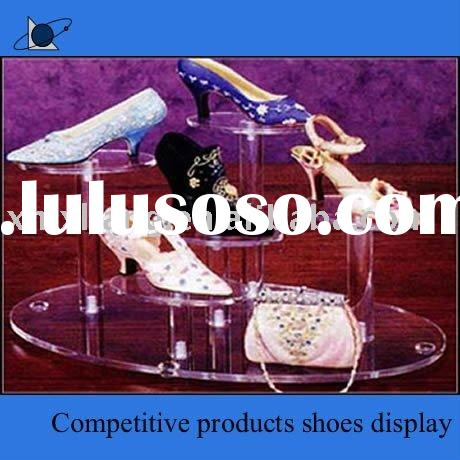 2012 internation style Upmarket high transparency acrylic shoe display stand with good quality