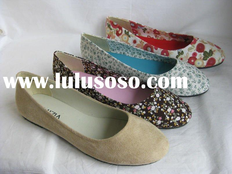 2012 ladies canvas fashion flat casual floral print ballerina shoes