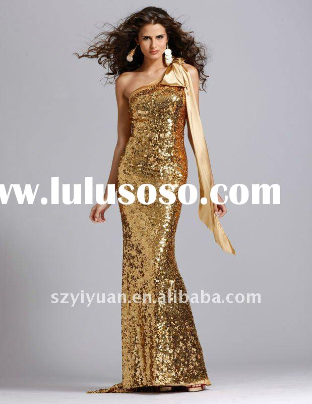 2012 one shoulder mermaid gold sequin long evening dress