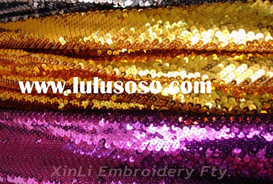 Gold Sequin Fabric 5mm Shiny Gold Purple Sequin
