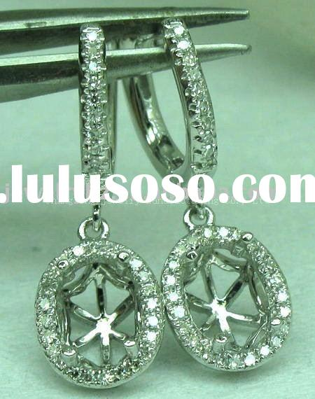 6X8MM OVAL SOLID 14k WHITE GOLD SEMI MOUNT DIAMOND EARRINGS