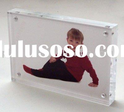 "7"" x 5"" 20mm Thick Clear Acrylic Magnetic Photo Frame;Clear Perspex Block Photo Frame;Acry"