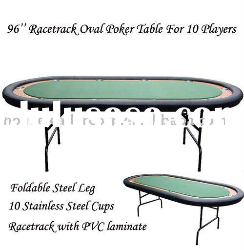 96'' Texas Hold'em Oval Racetrack Poker Game Table w/ Folding Legs