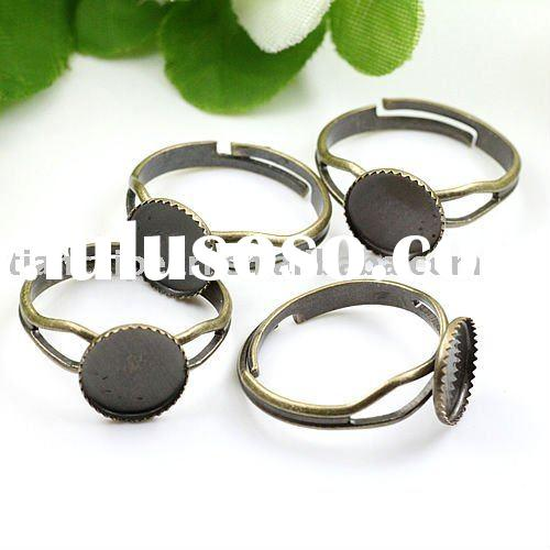 Adjustable rings DIYJewelry Accessories with 10mm flat Bottom Tray ring base,finger ring blank finge