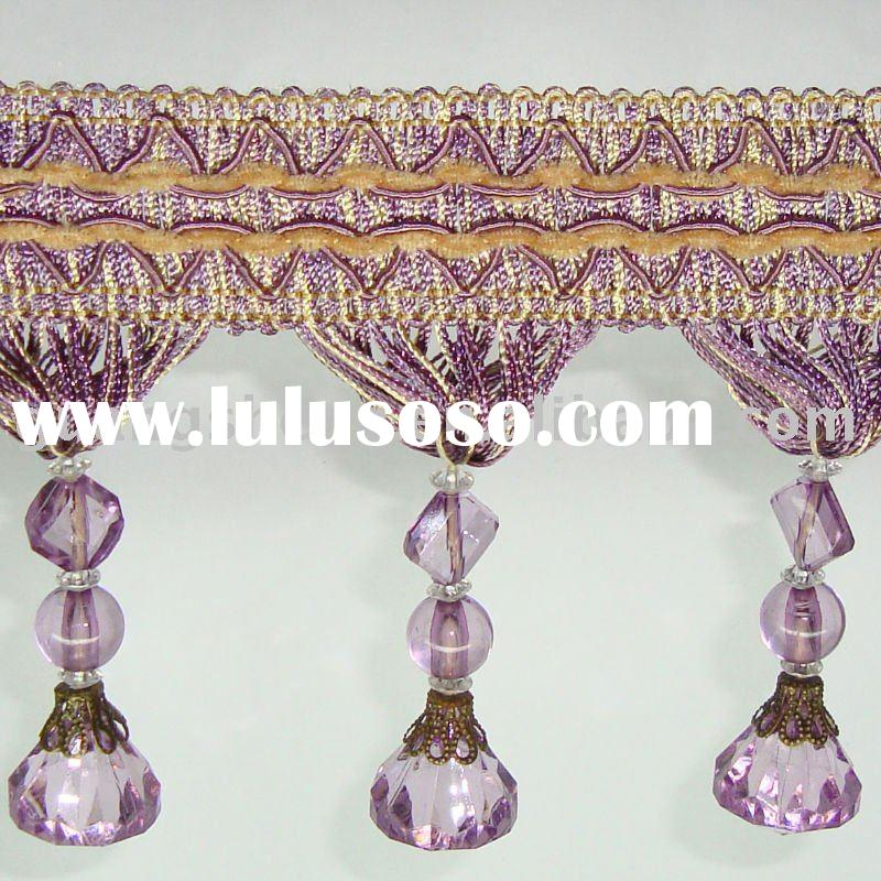 Beaded Decorative curtain Braid tassel Fringe