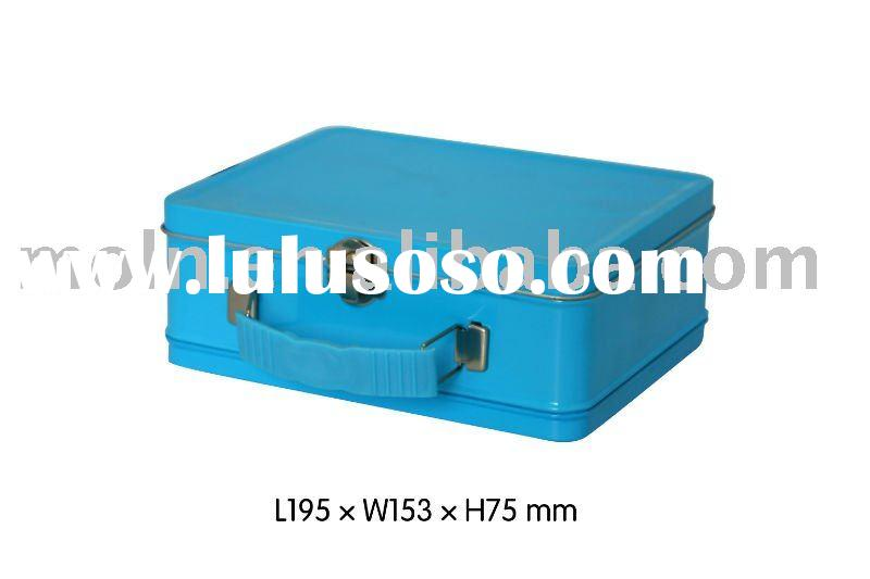 Blue colored rectangular tin lunch box with hinge, handle, clasp and lock