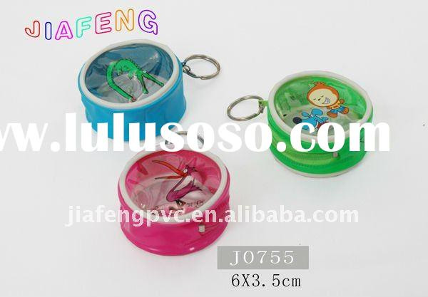 Cartoon Printed Round PVC Gift Bag with Metallic Ring Hnadle and Zipper