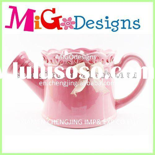 Ceramic Pink Watering Can and Flower Water Pot