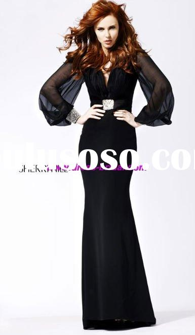 Custom Made 2011 New Style Long Sleeve Free Shipping Prom Dress&Evening Dress&Evening gown