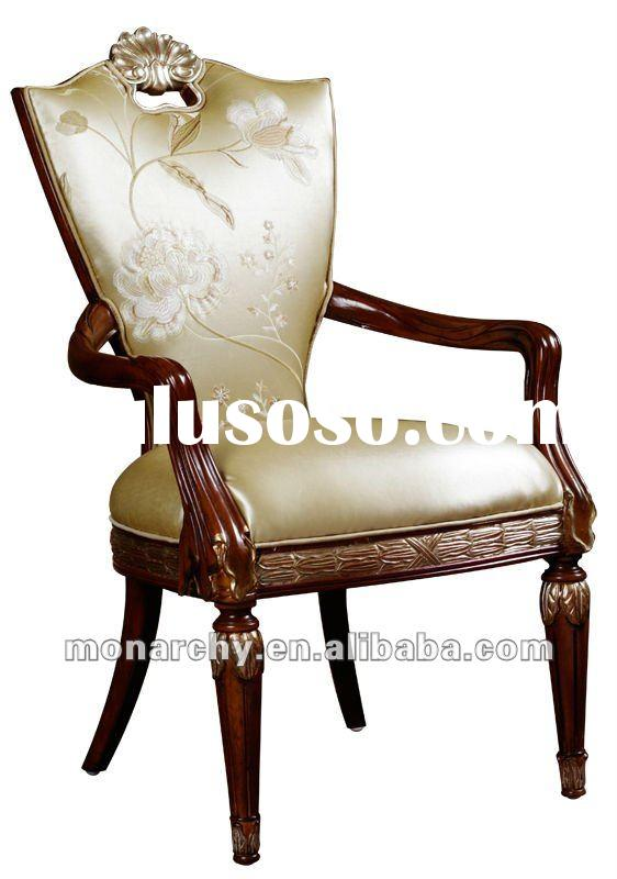 D098-47 high quality solid wood hand carving leather chair arm covers