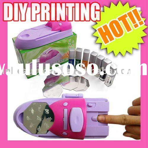 DIY NAIL ART STAMPING STAMPER PRINTING MACHINE + 6 POLISH & 5 TEMPLATE