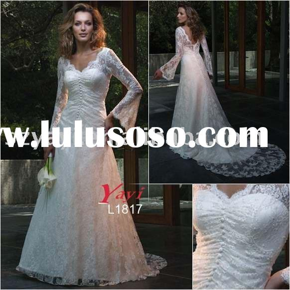 Delicate beaded lace slim A-line silhouette with long bell sleeves wedding gown L1817