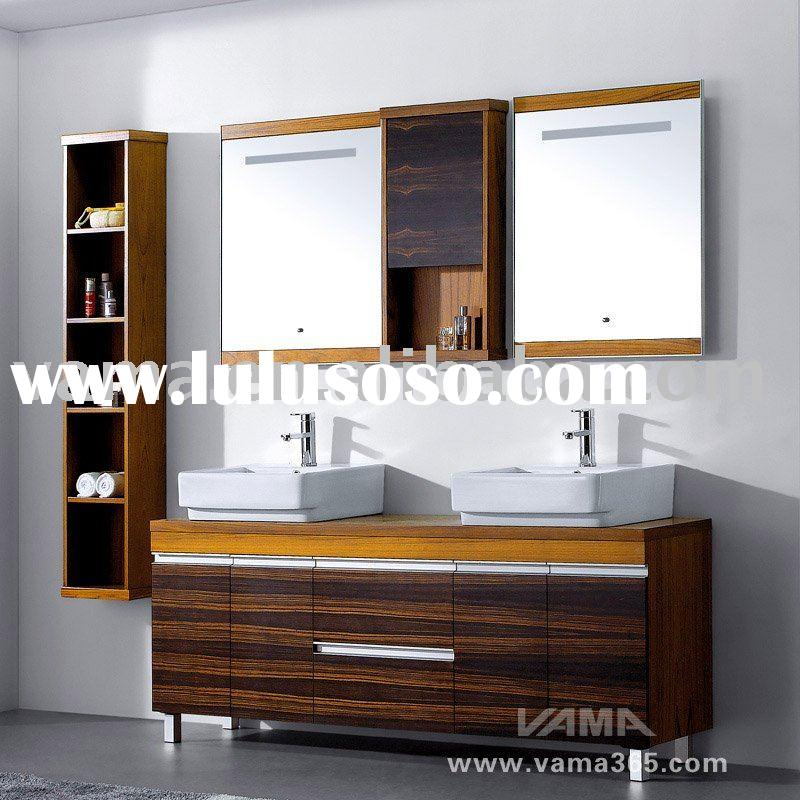 Double mirrors Solid wood bathroom cabinet/ Bathroom vanity