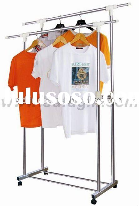 Extendable Stainless Steel Double-Rail Garment Rack Stand