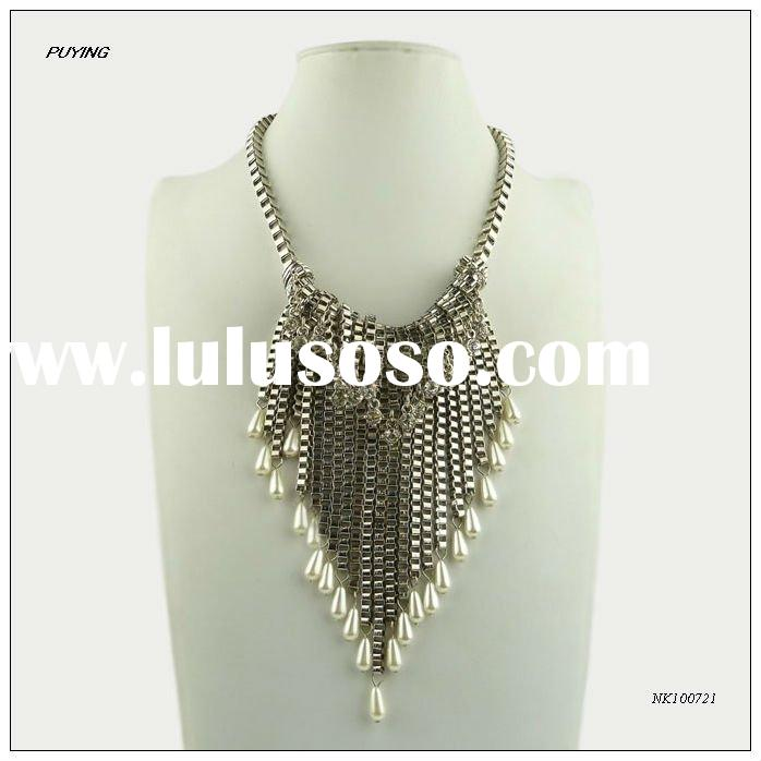 Fashion High End Diamond & Pearl Decorated Costume Zinc Alloy Necklace, Fine Costume Imitation J