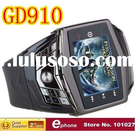 GD910 Ultra Thin Flat Touch Screen Watch Cell Phone with Camera FM TV Bluetooth