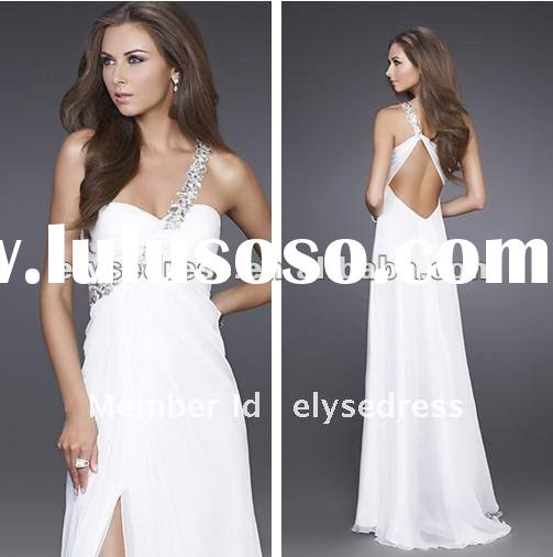 Hot Sale One Shoulder 2012 White Christmas Evening Gown Prom Dress