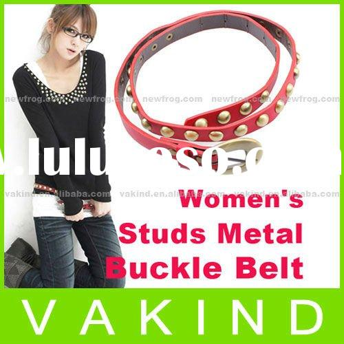 Ladies Metal Buckle Studs Faux Leather Belt Red New