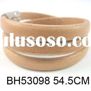 Neweast Colorful Plain Leather Magnetic Bangle Bracelet Jewelry