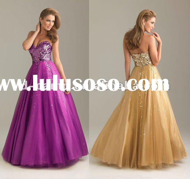 OC-144 Classic ball gown patterns prom dresses sequined bodice and tulle A-line skirt