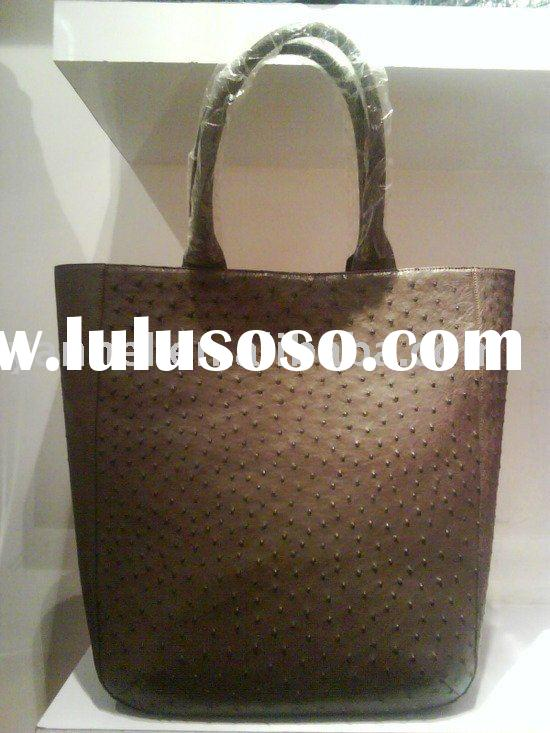 Ostrich skin lady tote ,fashion handbag,women bag.
