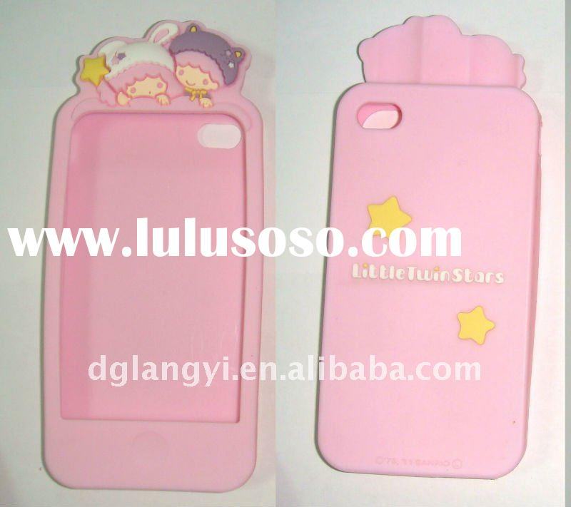 Pink Little Twin Stars Rubber Cell Phone Case