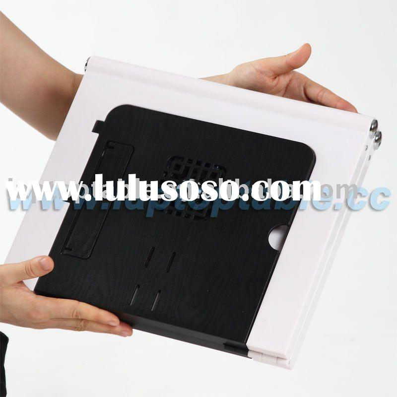 Portable laptop folding table with fan