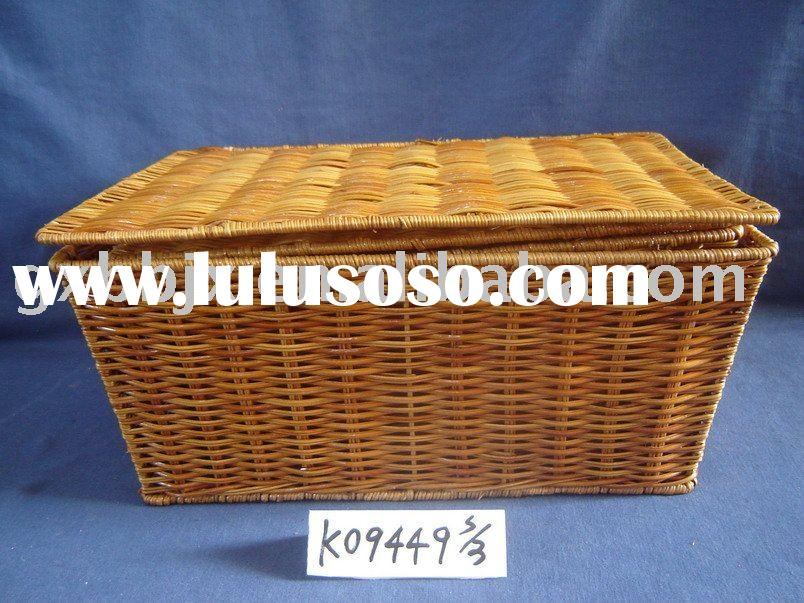 Rattan woven iron frame storage box picnic basket with lid