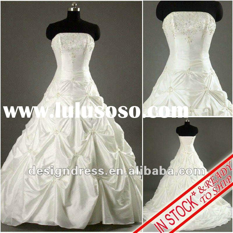 Sale promotion stock white A-line strapless back open embroidered satin wedding dress fashion 2012 M