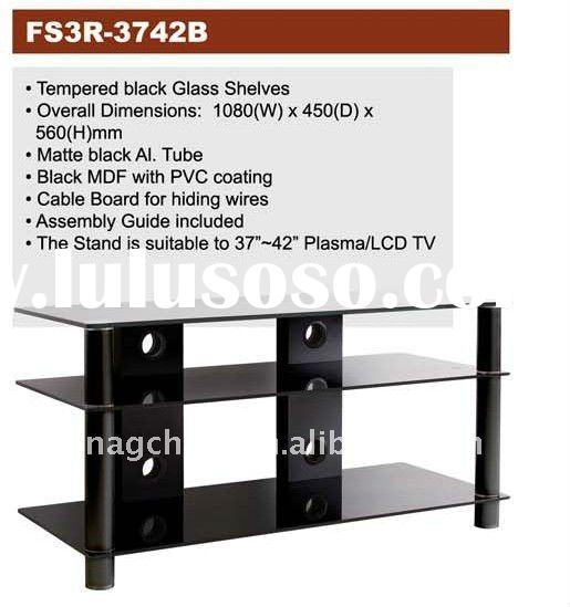 TV brackets series with black glass shelves for 37'-42' LCD/TV