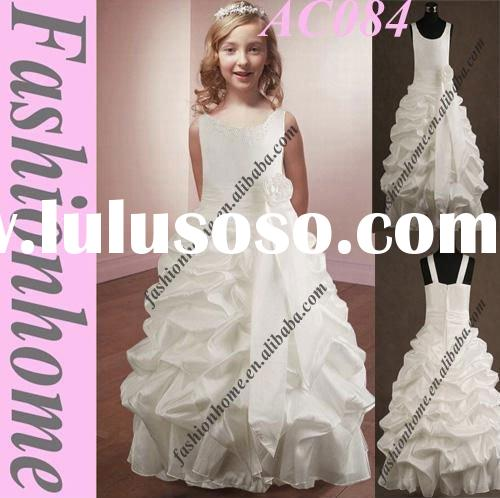 Top quality White flower girl dress communion dresses AC084